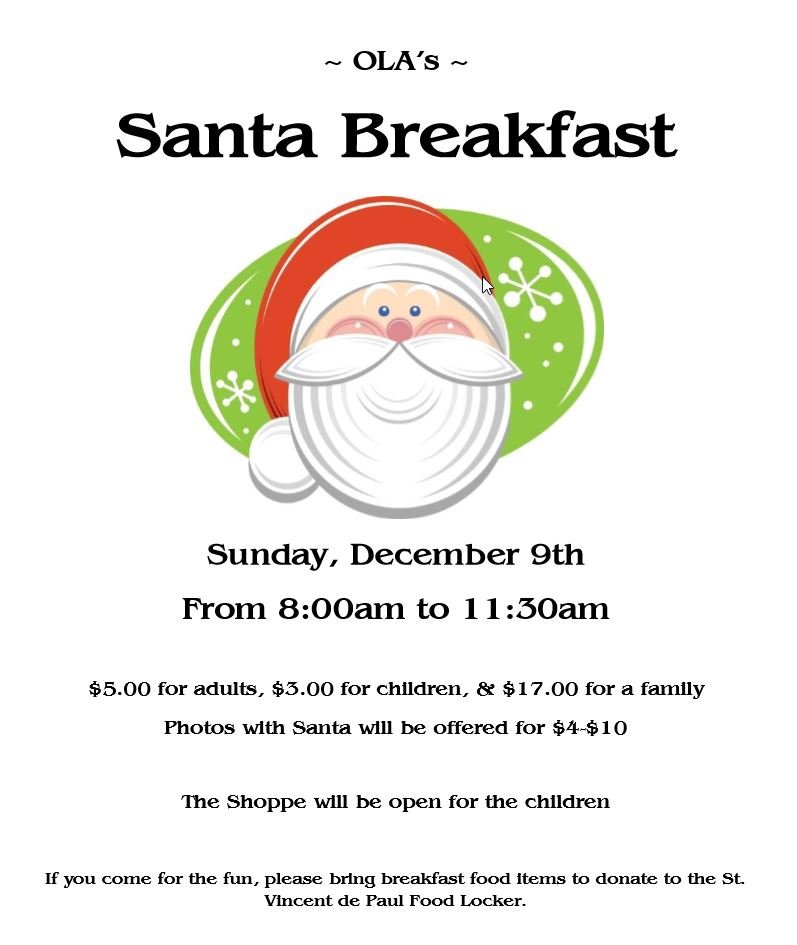 Santa Breakfast Flyer Big   2018