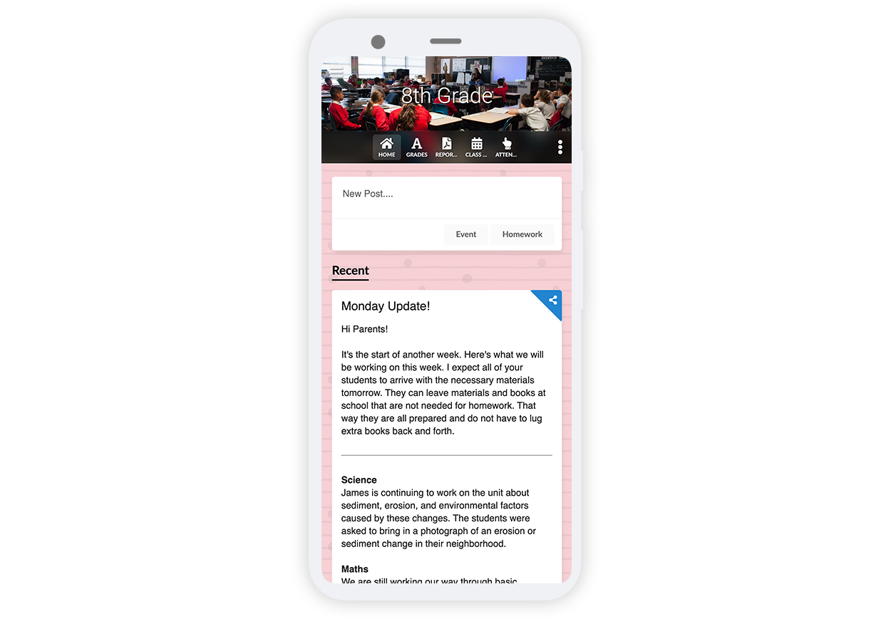 Classroom page New UI mobile screen