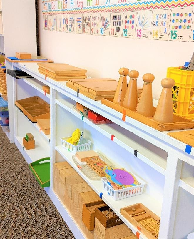 Students may choose from a variety of Montessori jobs where they will learn practical life, sensorial, language, and math skills.